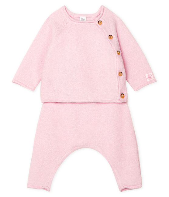 Babies' Clothing in Cotton/Merino Wool/Polyester - 2-Piece Set Fleur pink