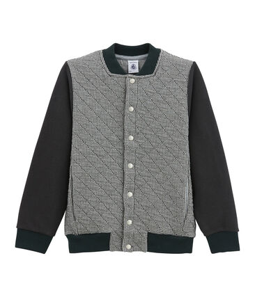 Boy's varsity jacket in double knit houndstooth