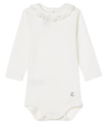 Long-sleeved bodysuit with ruff collar for baby girls Marshmallow white