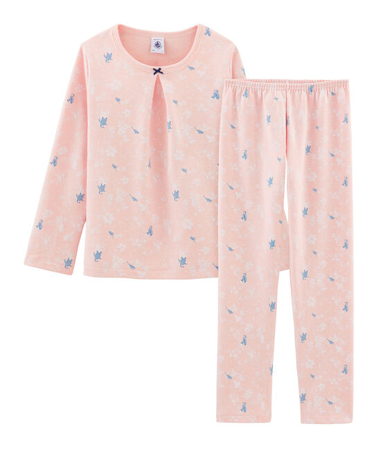 Girls' Pink Double-Sided Jersey Pyjamas with Penguin Print Minois pink / Multico white