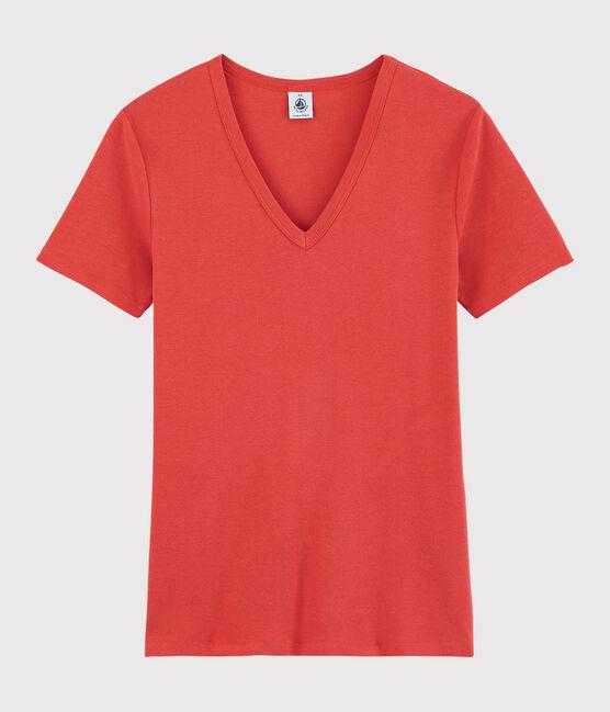 Women's Iconic V-Neck Cotton T-Shirt Oursin orange