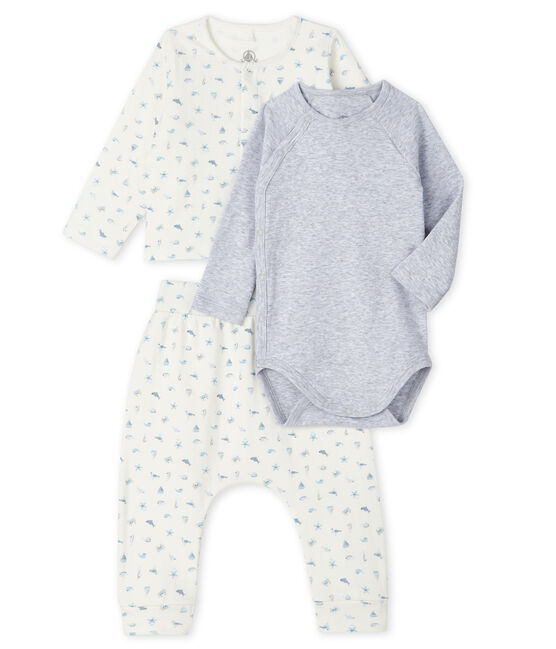 Unisex Baby's Tube Knit Clothing - 3-Piece Set Marshmallow white / Toudou blue
