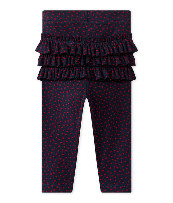 Baby girl's print leggings Smoking blue / Terkuit red