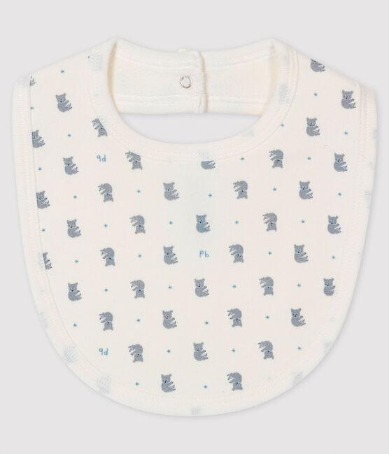 Ribbed Baby Bib Marshmallow white / Gris grey