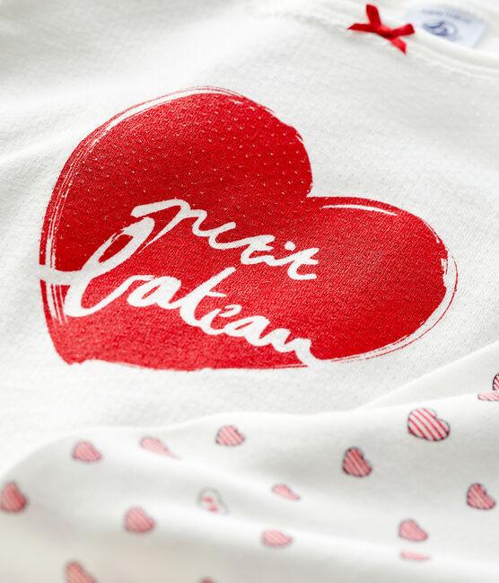 Girls' cotton red heart pyjamas Marshmallow white / Multico white