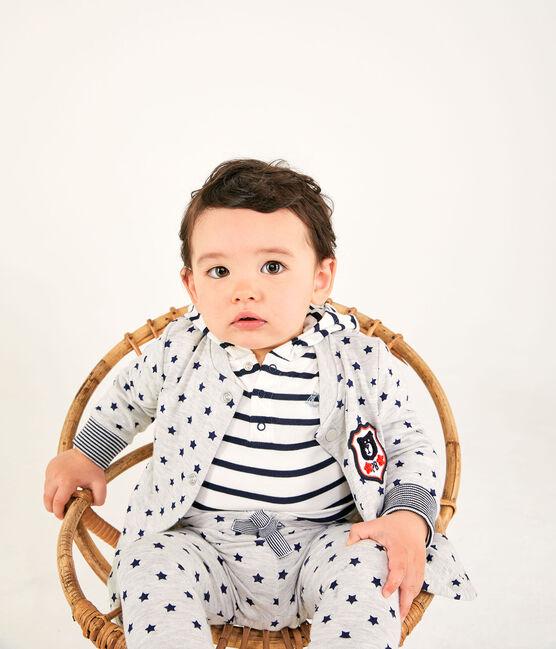 Unisex Baby's Print Tube Knit Trousers. Beluga grey / Smoking blue