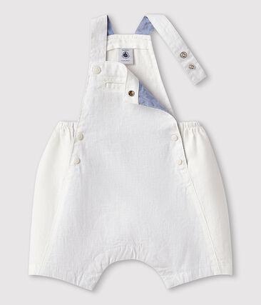 Baby Boys' Short Linen Dungarees Marshmallow white