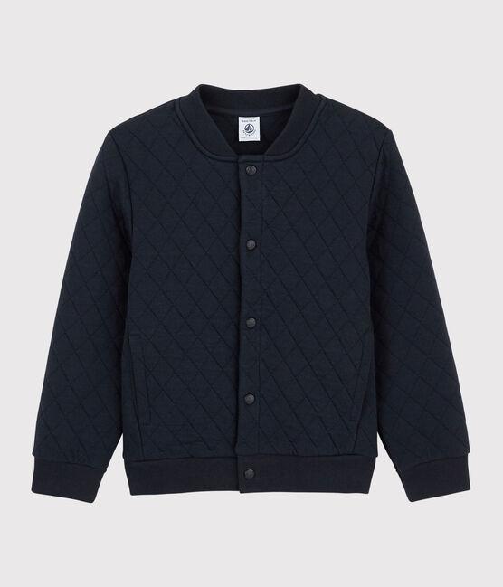 Boys' Tube Knit Baseball Jacket Style Cardigan Smoking blue
