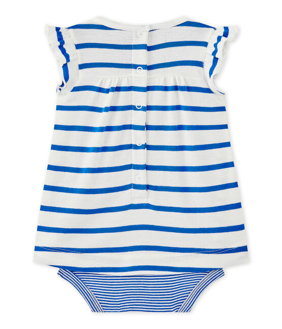 Baby girls' striped bodysuit dress Marshmallow white / Perse blue