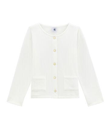 Girl's tube knit cardigan Marshmallow white