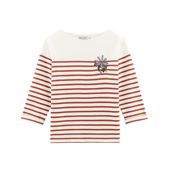 Women's long-sleeved stripy breton top Marshmallow white / Copper pink