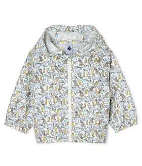 Unisex print windbreaker for babies Marshmallow white / Brut blue