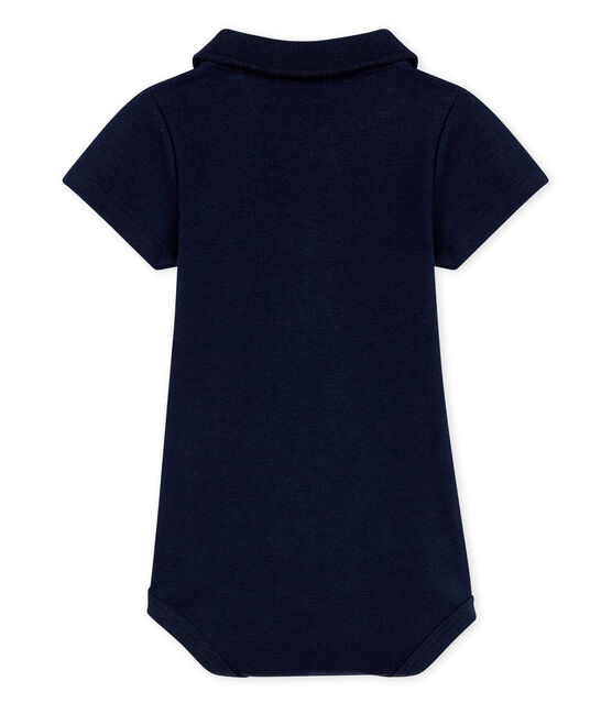 Baby Boys' Bodysuit with Polo Shirt Collar Smoking blue