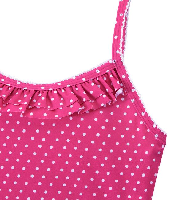Girl's one-piece polka dot swimsuit Petunia pink / Marshmallo white