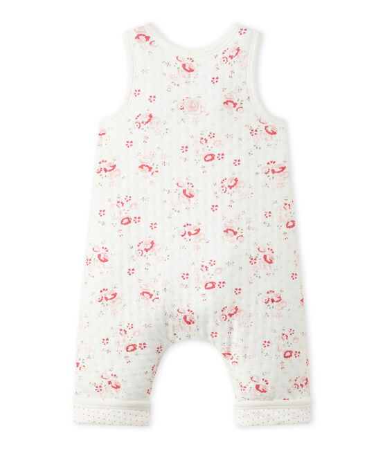 Baby's quilted tube knit overalls Lait white / Multico white
