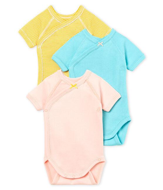 Baby Girls' Short-Sleeved Newborn Bodysuit - Set of 3 . set