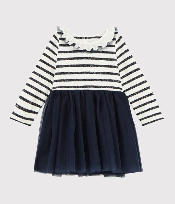 Baby girl's long-sleeved dress MARSHMALLOW/SMOKING ARGENT BRI