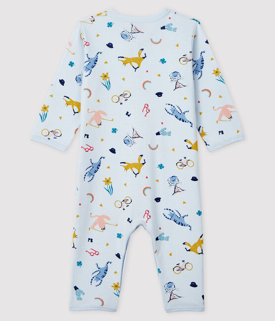 Baby Boys' Blue Animal Print Ribbed Sleepsuit Fraicheur blue / Multico white