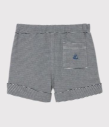 Baby boys' knit shorts Smoking blue / Marshmallow white