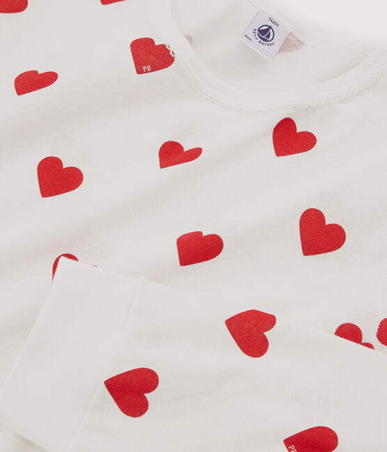 Girls' or Women's Heart Print Ribbed Pyjamas Marshmallow white / Terkuit red