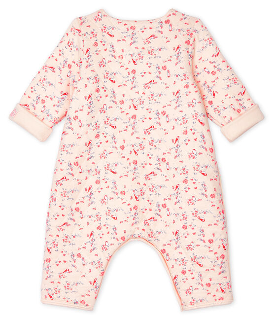 Unisex Baby's Long Tube Knit Bodysuit Fleur pink / Multico white