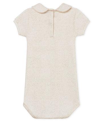 Baby girls' shiny bodysuit with peter pan collar