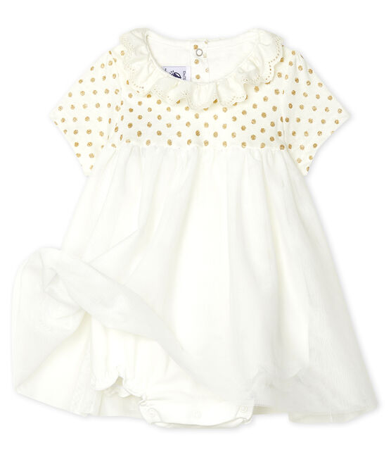 Baby Girls' Cotton and Linen Bodysuit/Dress Marshmallow white / Or yellow