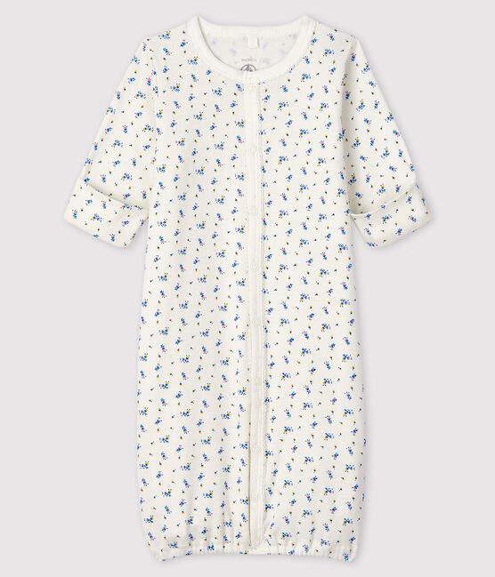 Baby Girls' Floral Print Ribbed Jumpsuit/Sleeping Bag Marshmallow white / Multico white