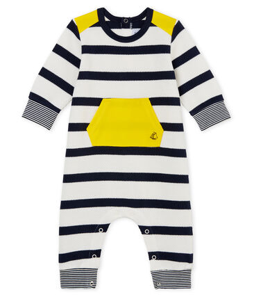 Baby boys' breton striped long all-in-one