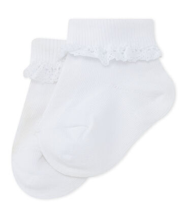 Baby Girls' Lace Socks Ecume white