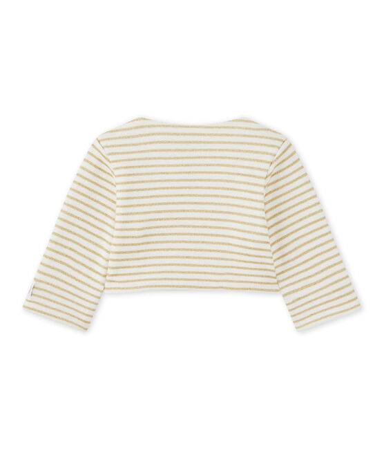 Baby girls' striped cardigan Marshmallow white / Dore yellow