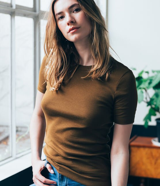 women's short sleeved t-shirt Autumn brown
