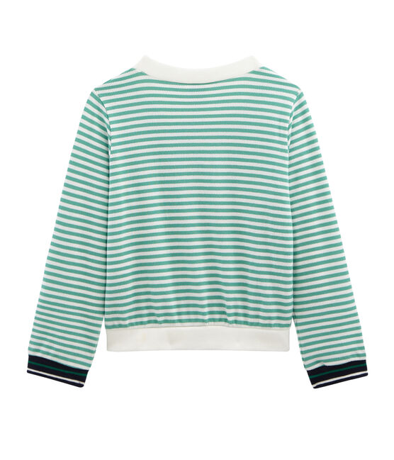 Girls' Cardigan Aloevera green / Marshmallow white