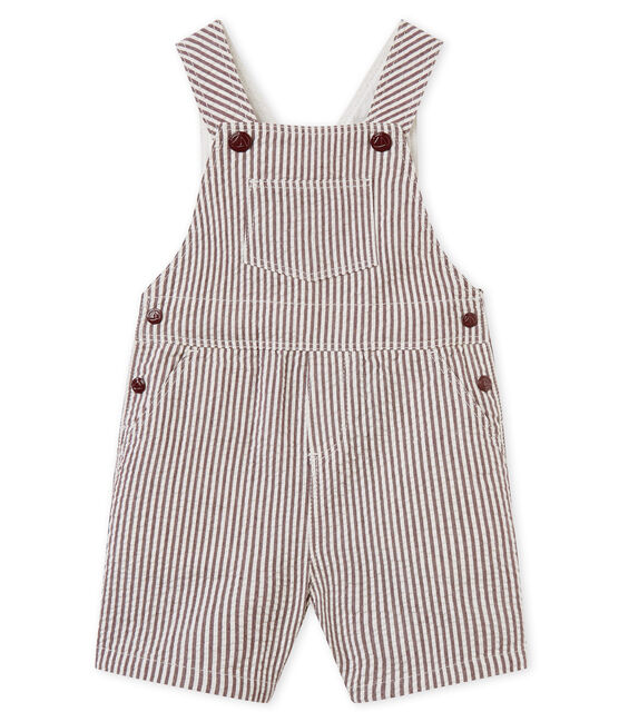 Baby boys' striped short dungarees Vino red / Marshmallow white