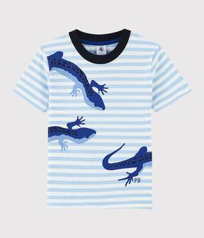 Boys' Short-Sleeved Jersey T-Shirt Jasmin blue / Marshmallow white