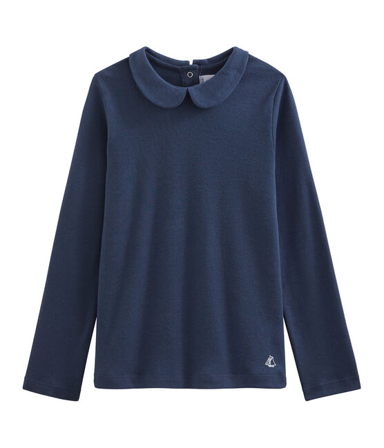 Girl's T-shirt with Peter Pan collar Haddock blue