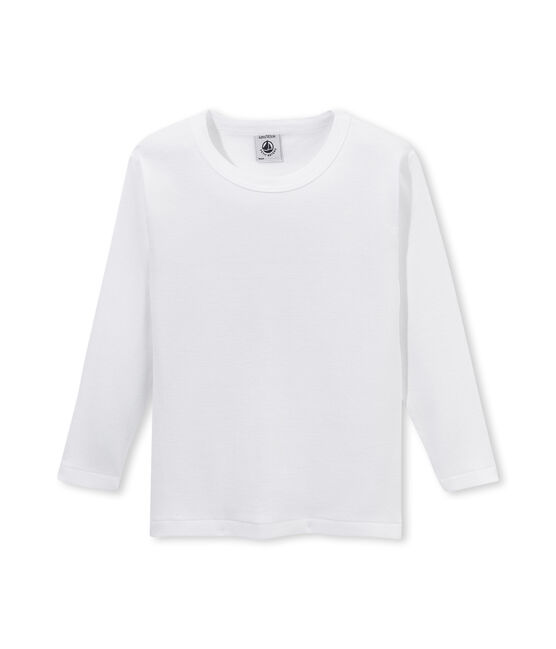 Boy's long sleeve plain T-shirt Lait white