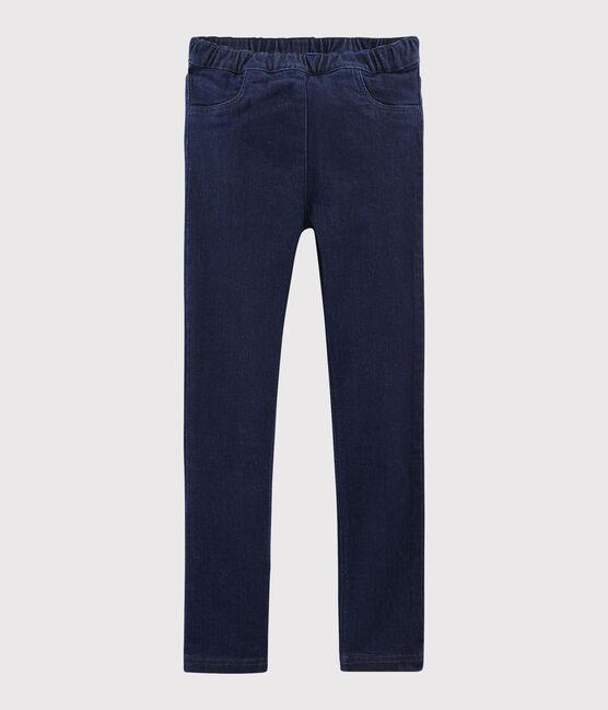 Girls' Denim Slim-Fit Trousers Denim Bleu Fonce blue