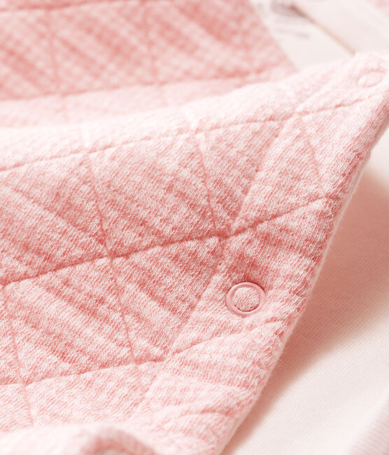 Babies' Long Jumpsuit in Quilted Tube Knit Charme pink / Marshmallow white