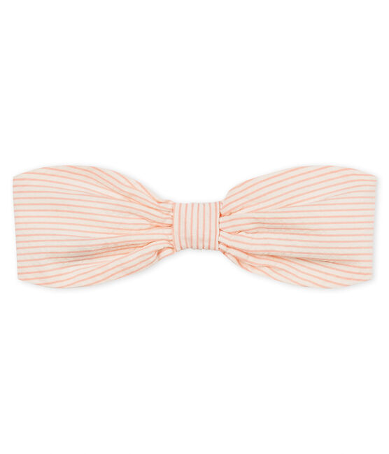 Baby girls' striped headband Marshmallow white / Rosako pink