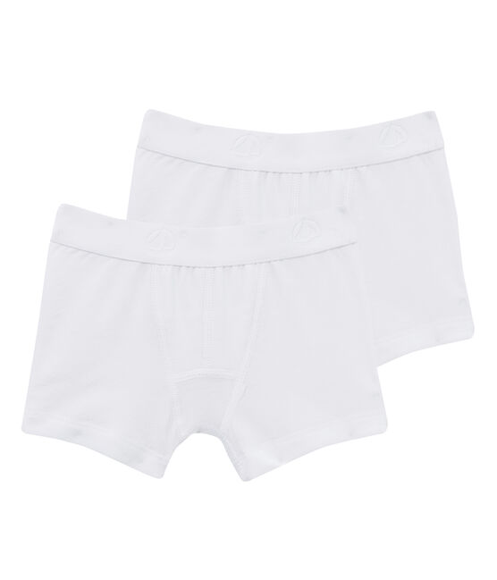 Set of 2 boys' white boxer shorts . set