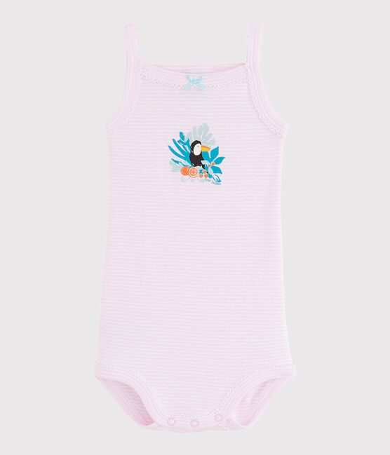 Baby Girls' Strappy Bodysuit Doll pink / Ecume white