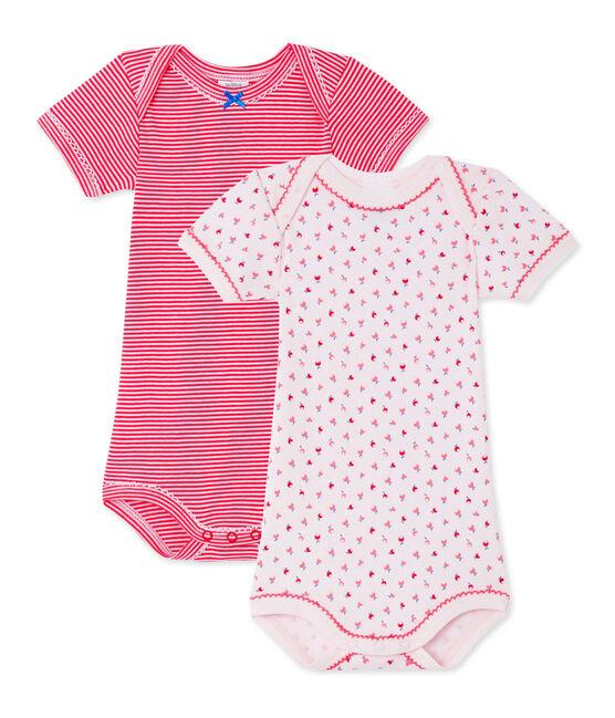 Pack of 2 baby girl bodysuits . set
