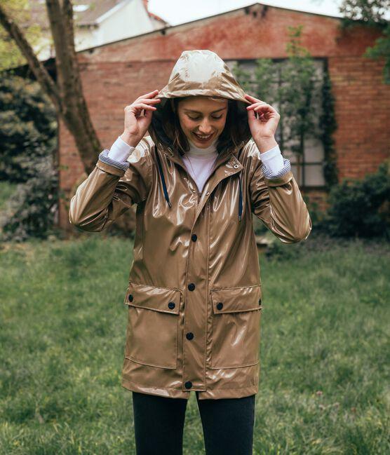 Women's glossy Raincoat Noisette brown