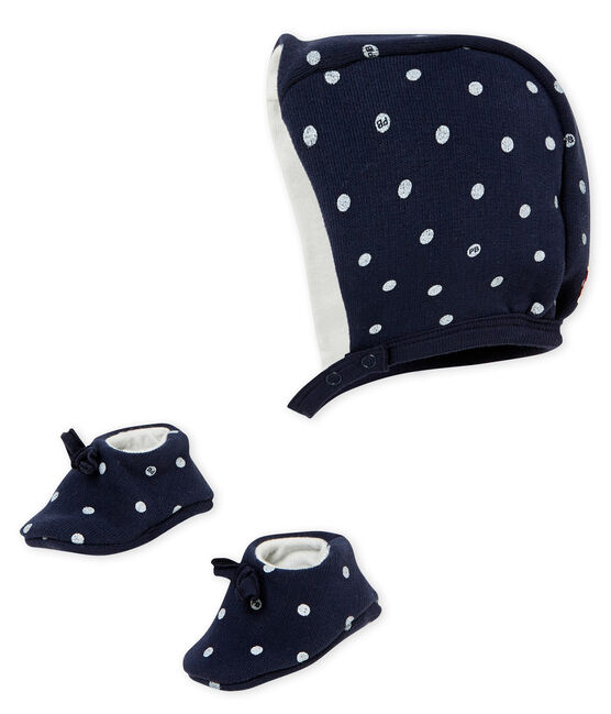 Baby girl's bonnet and slippers set Smoking blue / Marshmallow white