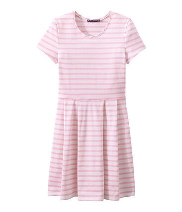 SHORT SLEEVE DRESS Marshmallow white / Babylone pink