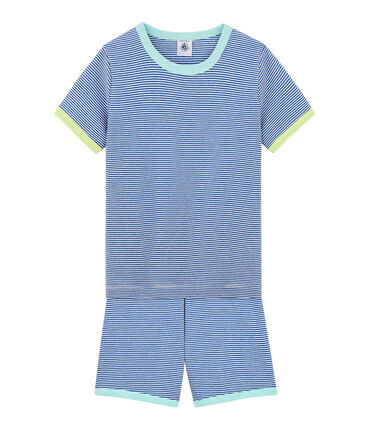 Boys' Ribbed Short Pyjamas Pablito blue / Marshmallow white
