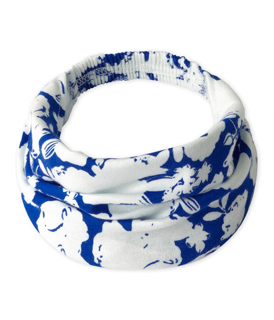 Girl's printed headscarf Marshmallow white / Perse blue