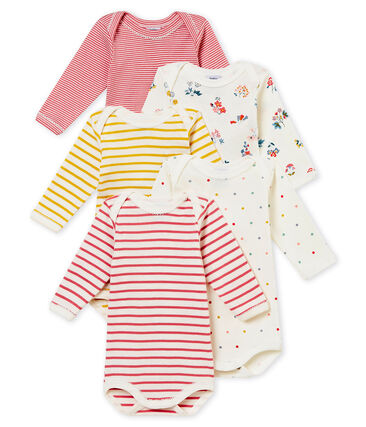 Set of 5 baby girl's long sleeved bodies