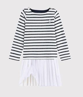 Girl's Long-sleeved Dress MARSHMALLOW/SMOKING ARGENT BRI